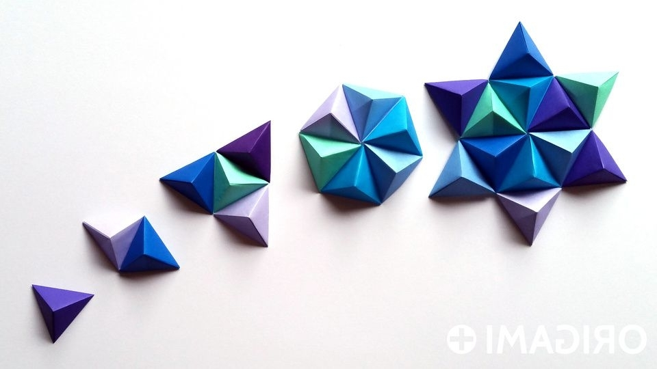 3D Paper Wall Art Intended For Well Known Origami Pyramid Pixels For 3D Paper Wall Art (View 3 of 15)