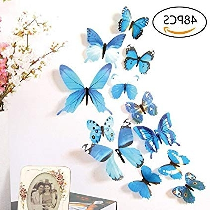3D Removable Butterfly Wall Art Stickers For Newest Amazon: 48 Pcs Removable 3D Butterfly Wall Stickers Decals Diy (View 2 of 15)