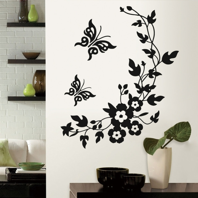3D Removable Butterfly Wall Art Stickers Inside 2017 Removable Vinyl 3D Wall Sticker Mural Decal Art Flowers And Vine (View 3 of 15)
