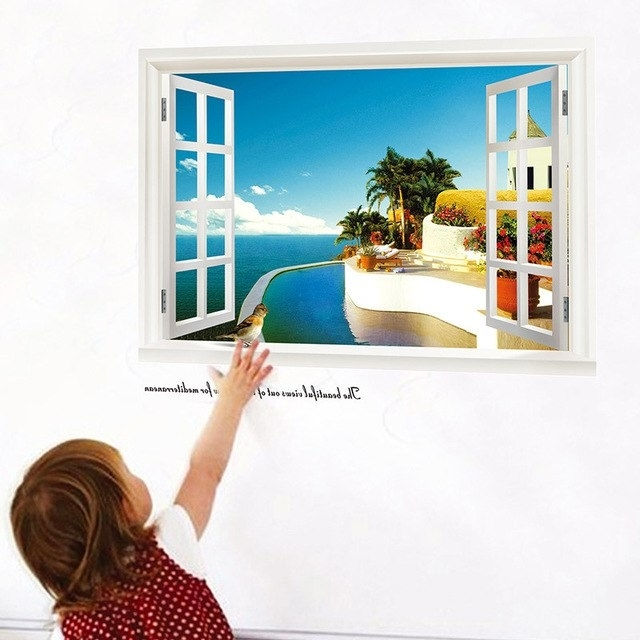3D Sea Beach Windows Wall Stickers Decals (View 4 of 15)