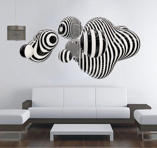 3D Shape Wall Art Abstract Sticker Op Art · Moonwallstickers within Most Up-to-Date Abstract Wall Art 3D