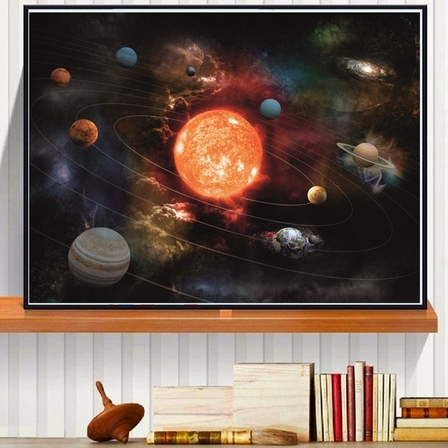 3D Solar System Canvas Art Print Painting Poster Wall Pictures For regarding Most Up-to-Date 3D Solar System Wall Art Decor