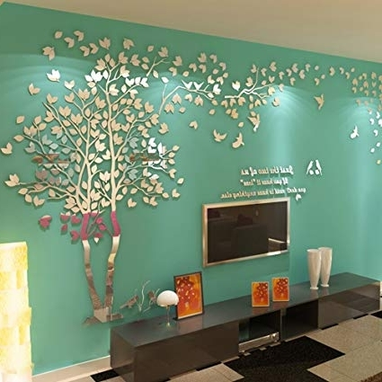 3D Tree Wall Art for Well-known Amazon: N.sunforest 3D Crystal Acrylic Couple Tree Wall Stickers