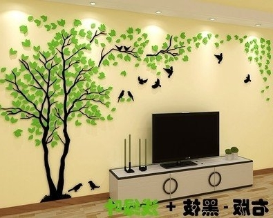 3D Tree Wall Art Throughout Most Current Buy Easybuy India 3D Big Tree Wall Murals For Living Room Bedroom (View 4 of 15)