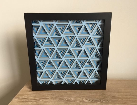 3D Triangle Layered Hanging Wall Art Layered Paper Cut Art (View 1 of 15)