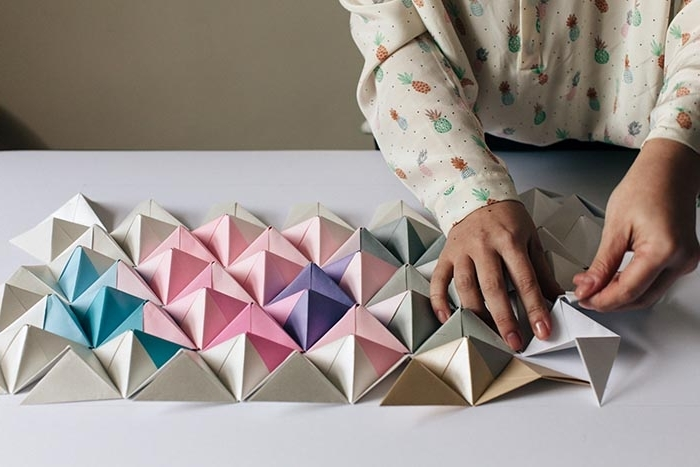 3D Triangle Wall Art In Most Recent Diy Origami Wall Display – Design*sponge (View 2 of 15)