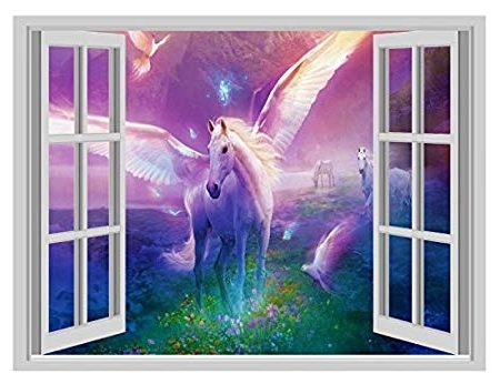 3D Unicorn Wall Art In Fashionable Huge 3D Window Wall Art Sticker – Unicorn Fantasy Fairytale 2 Decal (View 2 of 15)
