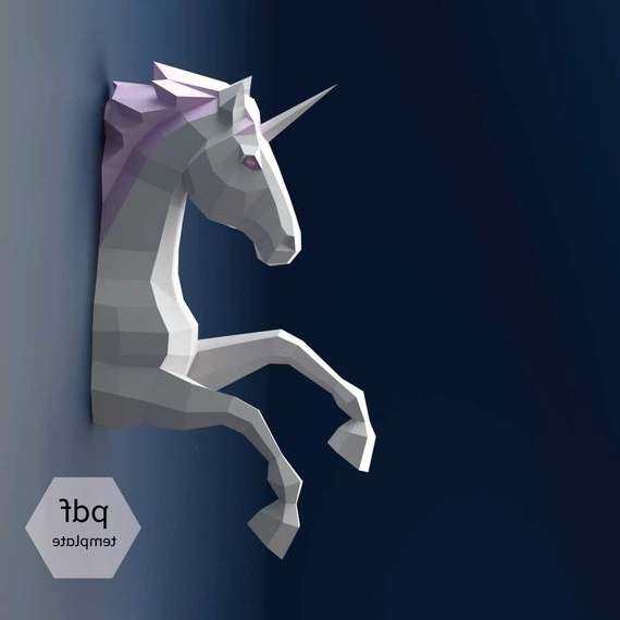 3D Unicorn Wall Art inside Trendy Unicorn Papercraft 3D Papercraft Build Your Own Low Poly