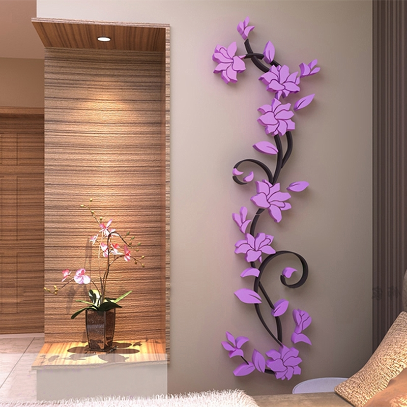 3D Vase Tree Love Heart Crystal Arcylic Wall Stickers Decal Home for Newest Diy 3D Wall Art Decor