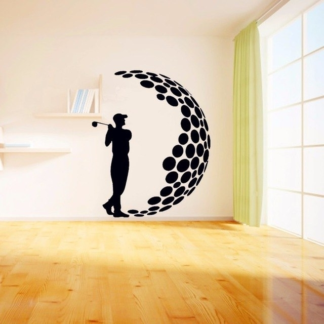 3D Visual Wall Art inside Preferred 2016 Play Golf Vinyl Wall Stickers 3D Visual Effects Decals Living