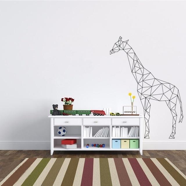 3D Visual Wall Art pertaining to Most Up-to-Date Geometric Giraffe Wall Decal Vinyl Sticker Geometry Animal Series