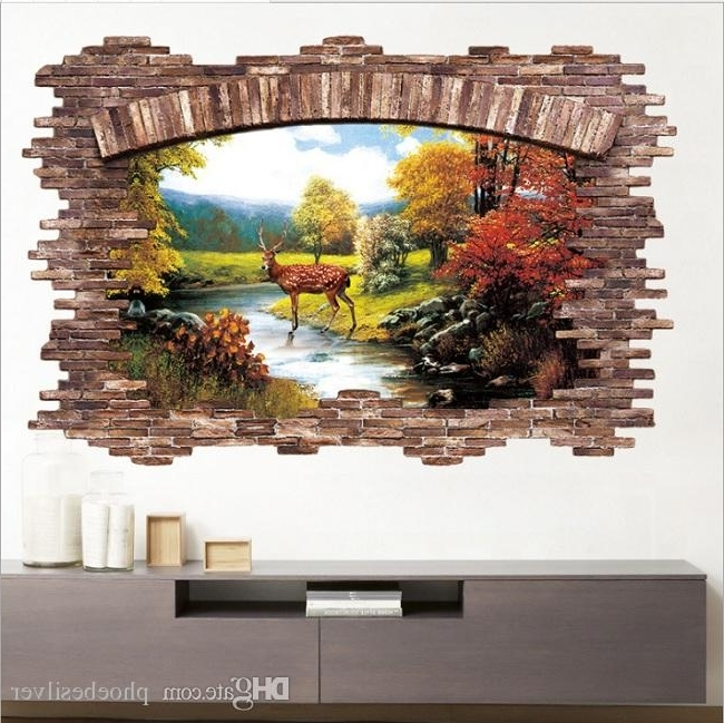 3D Visual Wall Art with 2018 3D Art Wall Stickers Visual Personality Waterproof Decor Bedroom