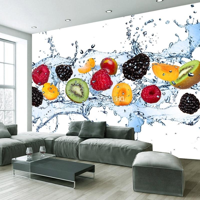 3D Wall Art And Interiors Intended For Well Known Fresh Fruit Wallpaper Minimalist Style Wall Mural 3D Tv Backdrop (View 5 of 15)