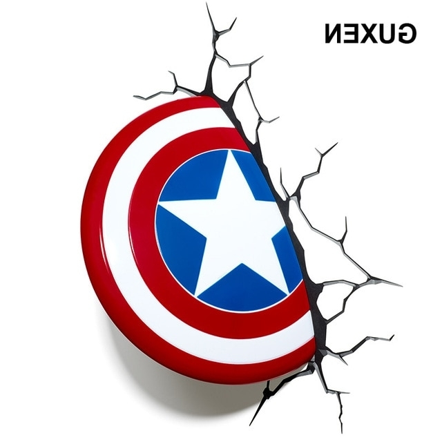 3D Wall Art Captain America Night Light Intended For Latest Guxen 3D Marvel Captain America Shield Creative Sticker For Kids Bed (View 2 of 15)