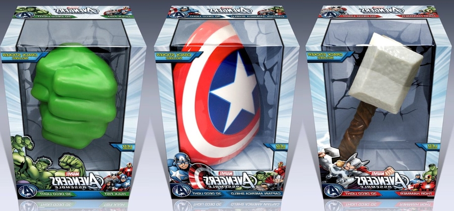 3D Wall Art Captain America Night Light With Preferred Target 3D Wall Art Thor Hammer, Captain America Shield And Hulk Fist (View 6 of 15)