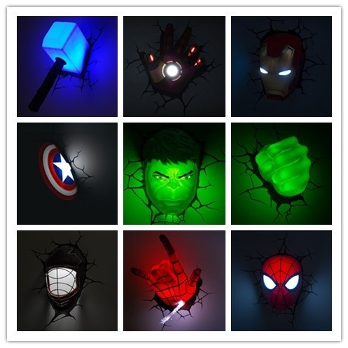 3D Wall Art Captain America Night Light with regard to Widely used Creative Ironman Spiderman Captain America 3D Wall Lamp Amazing Baby