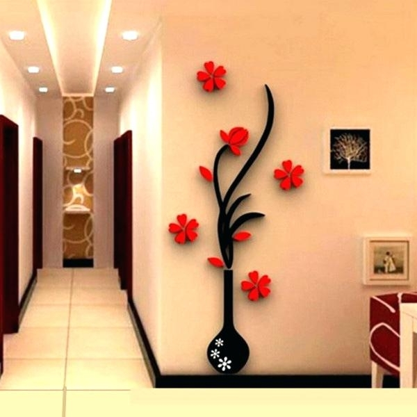 3D Wall Art Decor Hot Mirror Wall Stickers Quote Flower Vase Metal within 2017 Metal Wall Art Decor 3D Mural