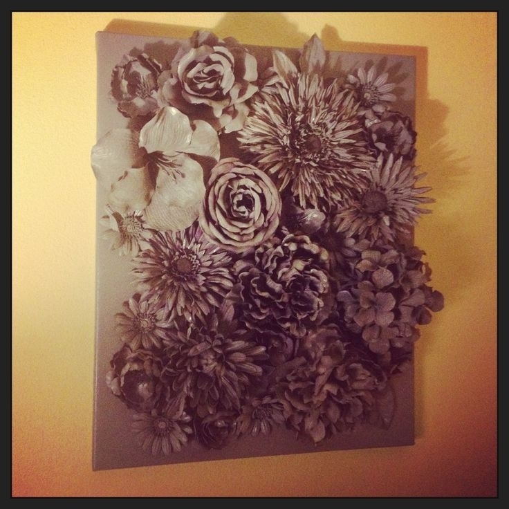 3D Wall Art: Faux Flowers Hot-Glued To Canvas with 3D Flower Wall Art