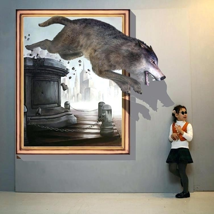 3D Wall Art Featured Image Of Wolf Wall Art 3D Effect Canvas Wall within Trendy 3D Effect Wall Art