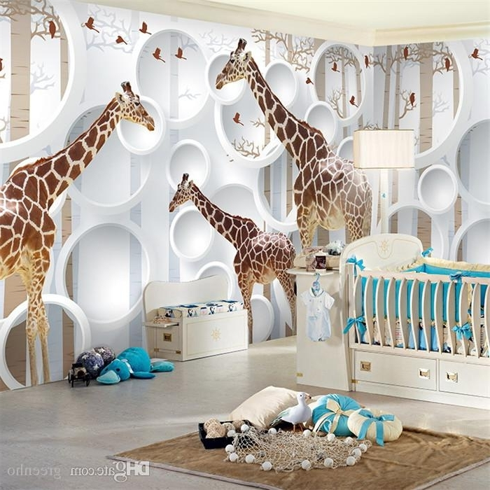 3D Wall Art For Baby Nursery With Regard To Best And Newest Unique 3D View Giraffe Wallpaper Cute Animal Wall Mural Art Kids (View 4 of 15)