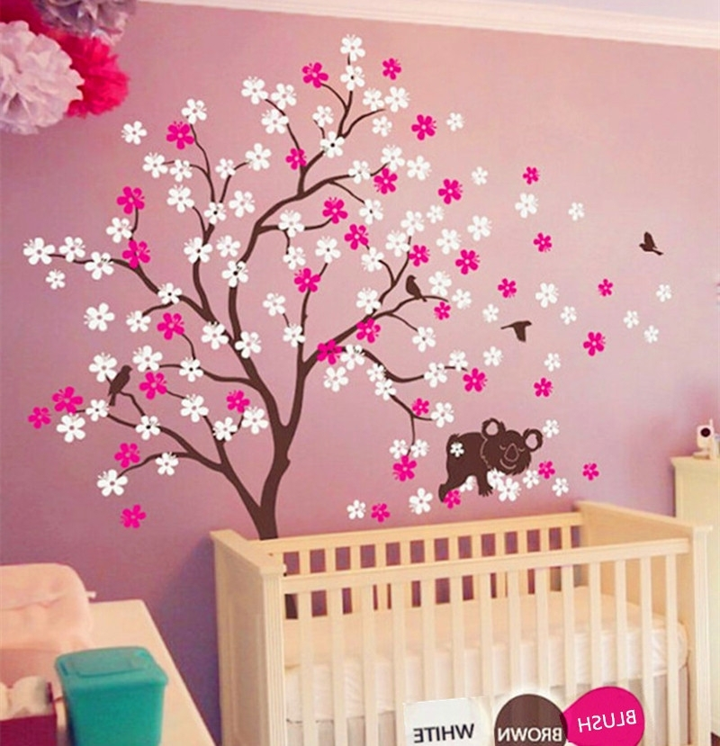 3D Wall Art For Baby Nursery With Regard To Well Liked Online Shop Koala Lying Blooms Beneath Wall Sticker Baby Bedroom (View 5 of 15)