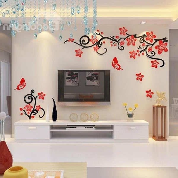 3D Wall Art For Bedrooms inside Most Recent Fabulous Acrylic 3D Flowers And Vines Tv Wall Bedroom 3D Wall