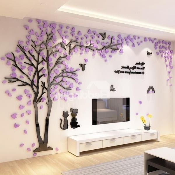 3D Wall Art For Bedrooms Pertaining To Most Popular Trees And Birds Pattern Acrylic Eco Friendly Waterproof Self (View 13 of 15)