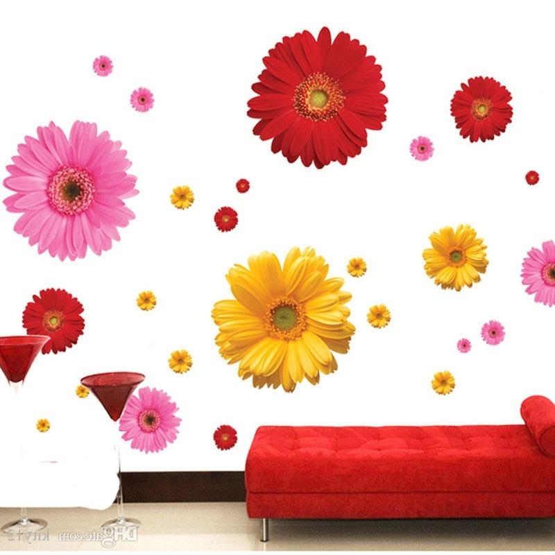 3D Wall Art For Kitchen for 2017 Daisy Flower Living Room Vinyl 3D Wall Stickers Window Decor Bedroom