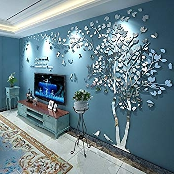 3D Wall Art For Living Room for Widely used Amazon: Tree Birds 3D Wall Decals For Living Room Wall Murals