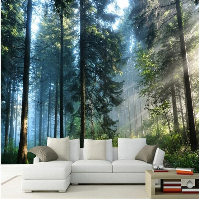 3D Wall Art For Living Room In Newest Beibehang Custom Painting For Living Room Natural Forest Trees Wall (View 3 of 15)