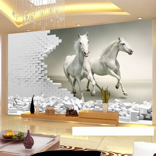 3D Wall Art For Living Room Throughout Preferred Custom 3D Wall Murals Wallpaper 3D Stereoscopic White Horse Brick (View 2 of 15)