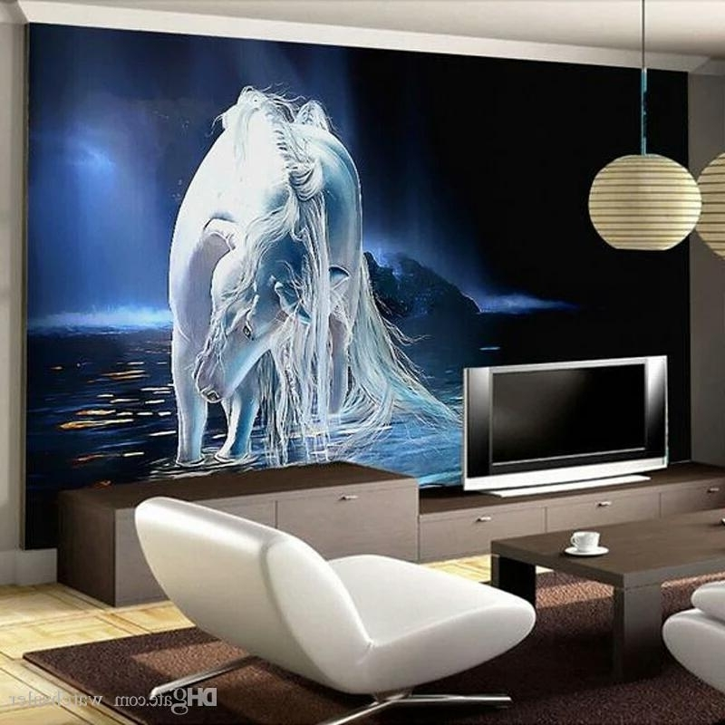 3D Wall Art For Living Room throughout Recent Customized Any Size White Horse Wall Art Painting Photo 3D Wall