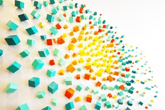 3D Wall Art Installation Cubes Commercial Art Lobby Art