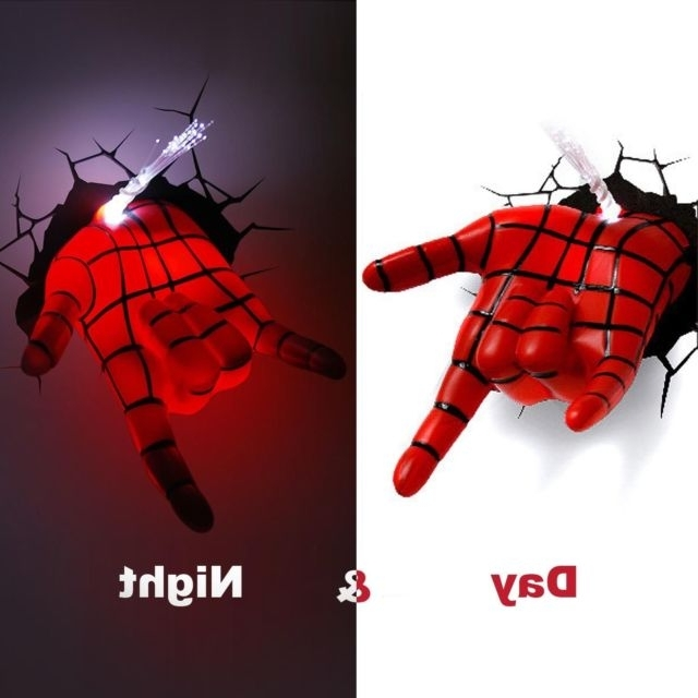 3D Wall Art Night Light Spiderman Hand In Trendy Marvel Avengers Spider Man Hand 3D Deco Wall Led Night Light Art Fx (View 2 of 15)