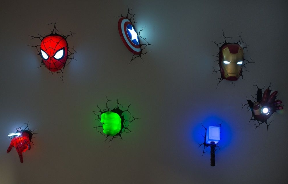 3D Wall Art Night Light Spiderman Hand throughout Newest Marvel 3D Wall Art Night Lights Bundle Iron Man Hulk Spiderman