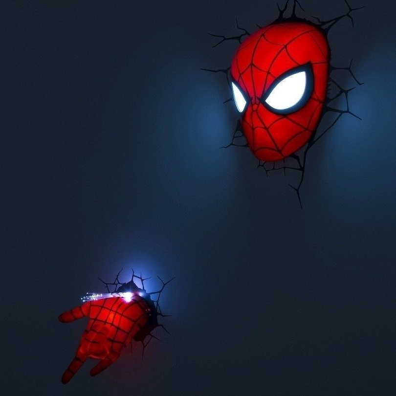 3D Wall Art Night Light Spiderman Hand With Preferred 2 Pc Spiderman Mask Hand Set Nightlight Marvel 3D Wall Art Light (View 7 of 15)