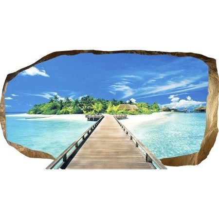3D Wall Art Walmart Pertaining To Best And Newest Startonight 3D Mural Wall Art Photo Decor Bridge For Island Amazing (View 15 of 15)