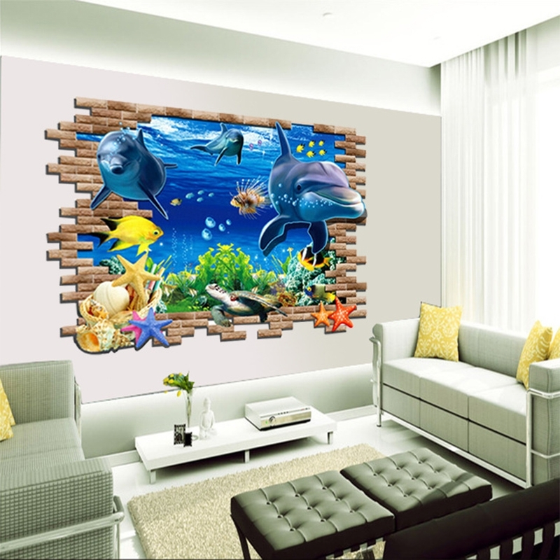 3D Wall Art Window Intended For Newest Diy Beautiful Sea World Dolphin 3D Wall Art Window Sticker Vinyl (View 15 of 15)