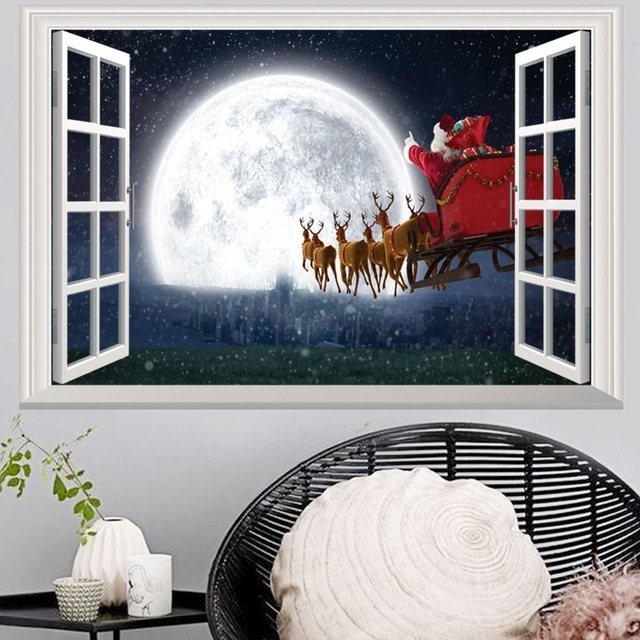 3D Wall Art Window Regarding Well Known 2018 Newest Christmas 3D Wall Stickers Window View Santa Claus Home (View 7 of 15)