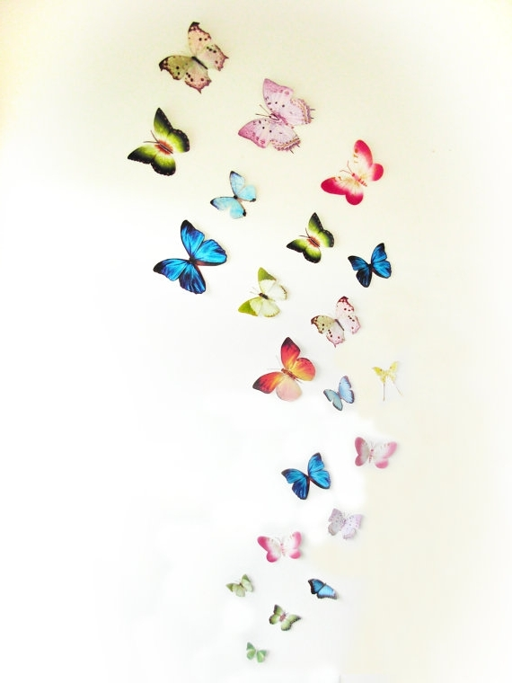 3D Wall Butterflies,3D Butterfly Wall Art, Decoration, Pink, Green Pertaining To Most Recent Baby Nursery 3D Wall Art (View 1 of 15)