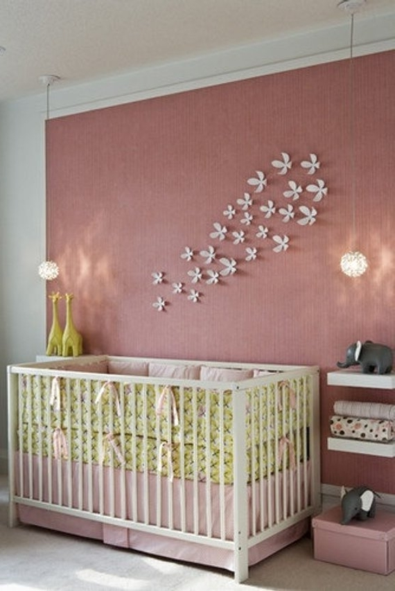 3D Wall Flowers Paper Nursery Flowers 3D Wall Art Baby (View 6 of 15)