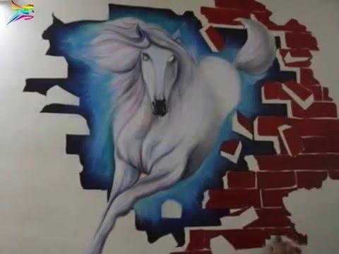 3D Wall Painting Of Horsesarvam Patel (Mumbai- India) - Youtube in Trendy 3D Horse Wall Art