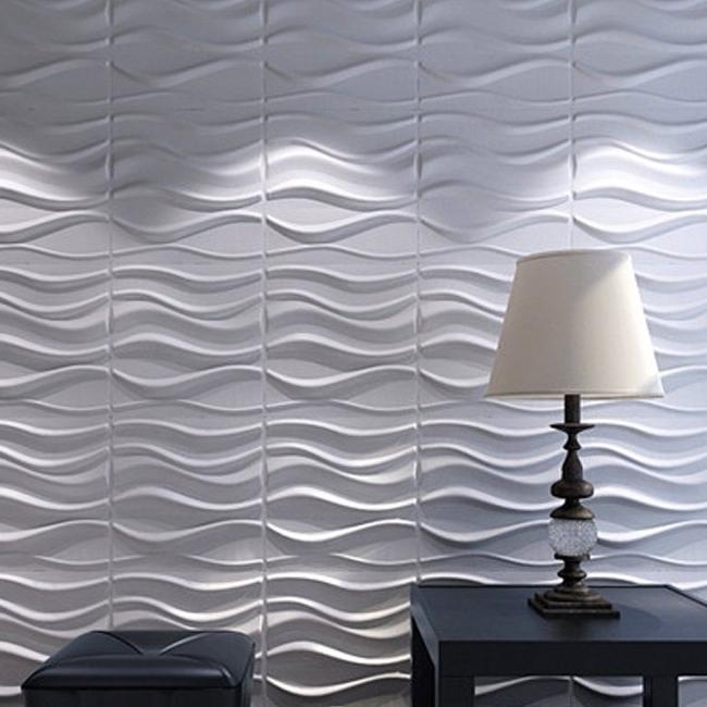 3D Wall Panels Plant Fiber White For Interior Decor 12 Pcs 32 Sq (View 2 of 15)