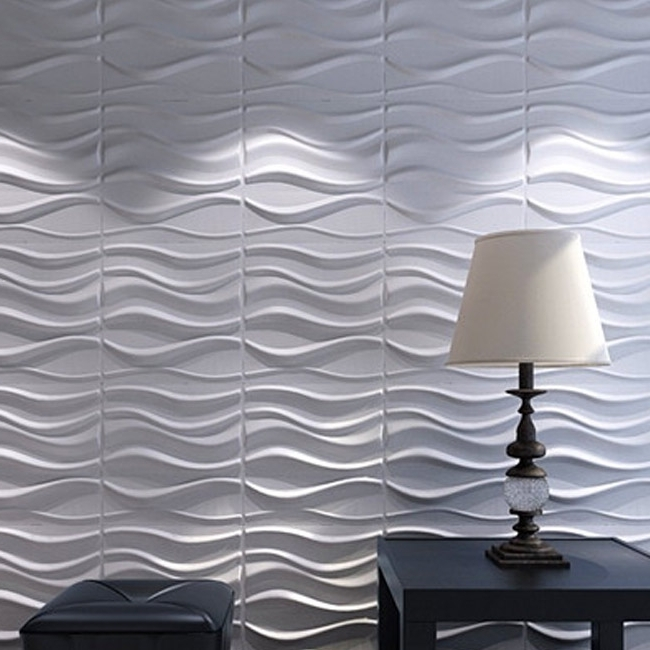 3D Wall Panels Plant Fiber White For Interior Decor 12 Pcs 32 Sq (View 2 of 15)