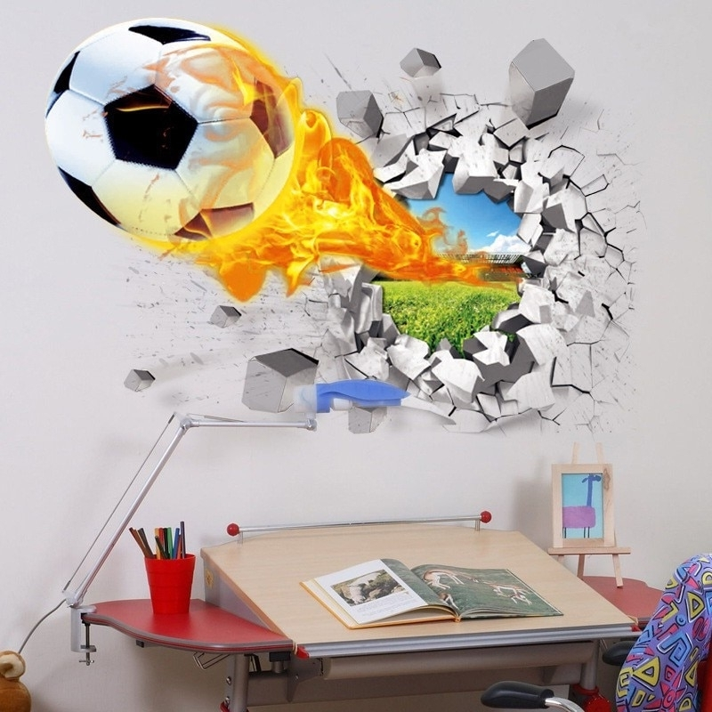 3D Wall Stickers Hot Sale Soccer Ball Football Vinyl Wall Decal intended for Most Recent Football 3D Wall Art