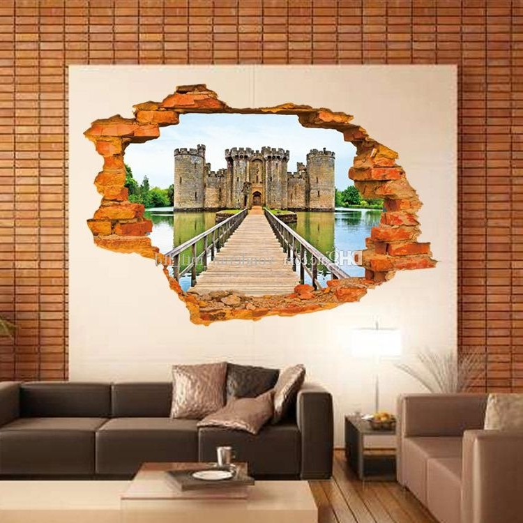 3D Wall Stickers Stereo Creative Wall Broken Fashion Castle Wall With Regard To Most Popular 3D Wall Art For Living Room (View 12 of 15)