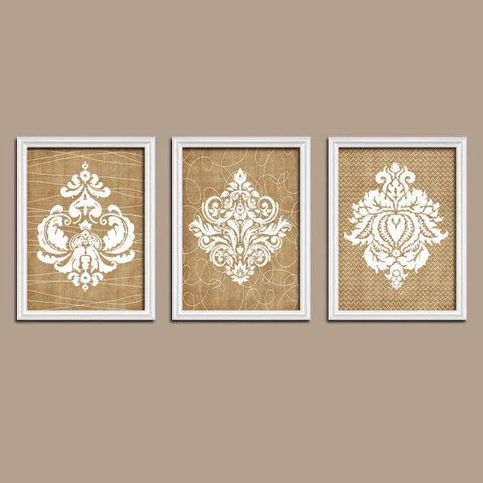 4. Beige Country Canvas Wall Art Pinterest French Flourish White Tan For Fashionable Country Canvas Wall Art (Gallery 5 of 15)