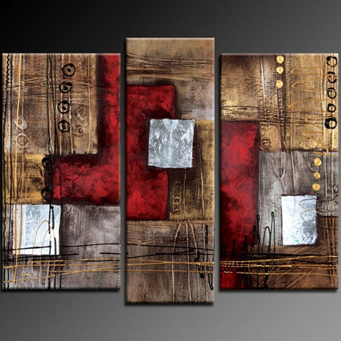4. Paints Three Piece Abstract Wall Art In Conjunction With 3 Piece pertaining to Newest 3 Piece Abstract Wall Art