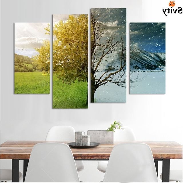 4 Panel Abstract Landscape Canvas Painting Wall Art Hand Painted Within Best And Newest Abstract Landscape Wall Art (Gallery 4 of 15)