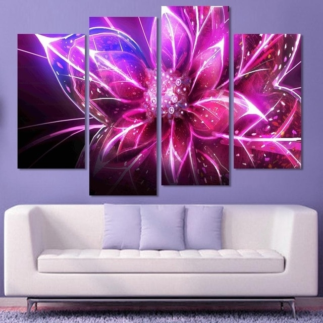 4 Piece Cheap Abstract Canvas Art Modern Wall Painting Purple For Favorite Inexpensive Abstract Wall Art (View 14 of 15)